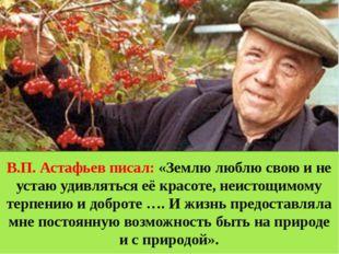 В.П. Астафьев писал: «Землю люблю свою и не устаю удивляться её красоте, неи