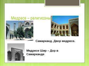 Медресе – религиозный университет Самарканд. Двор медресе. Медресе Шир – Дор