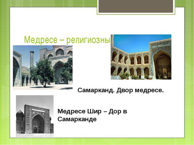 Медресе – религиозный университет Самарканд. Двор медресе. Медресе Шир – Дор...