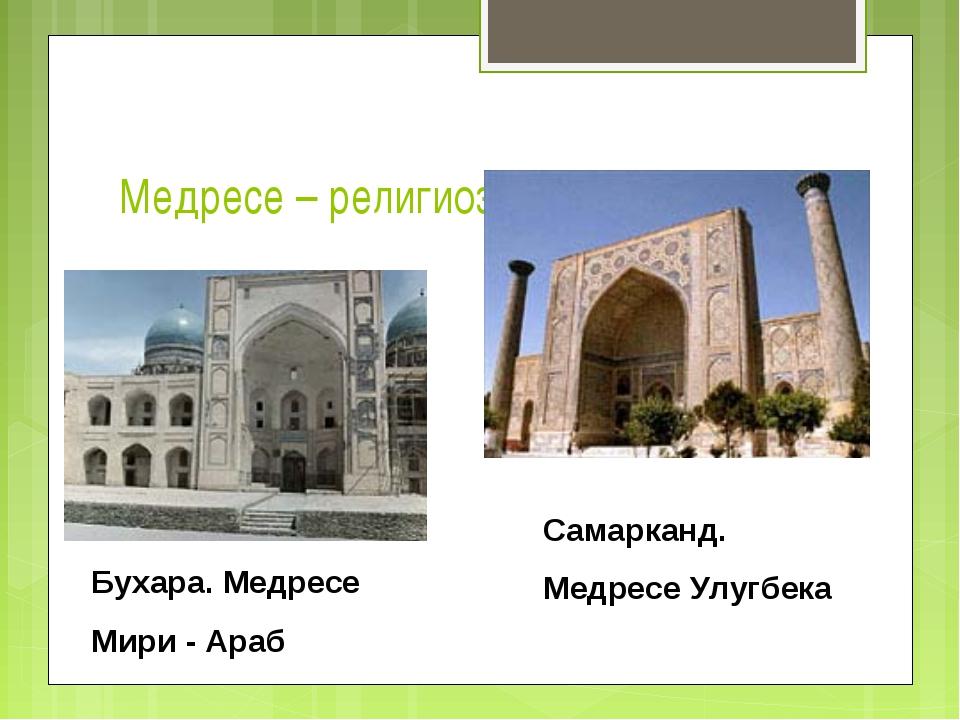 Медресе – религиозный университет Бухара. Медресе Мири - Араб Самарканд. Медр...