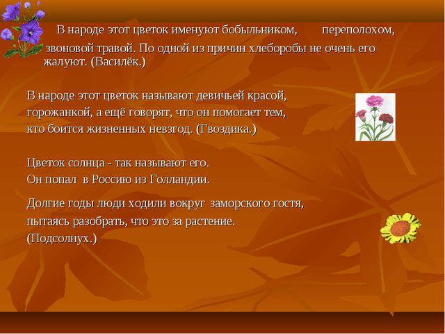 В народе этот цветок именуют бобыльником, переполохом, звоновой травой. По о...