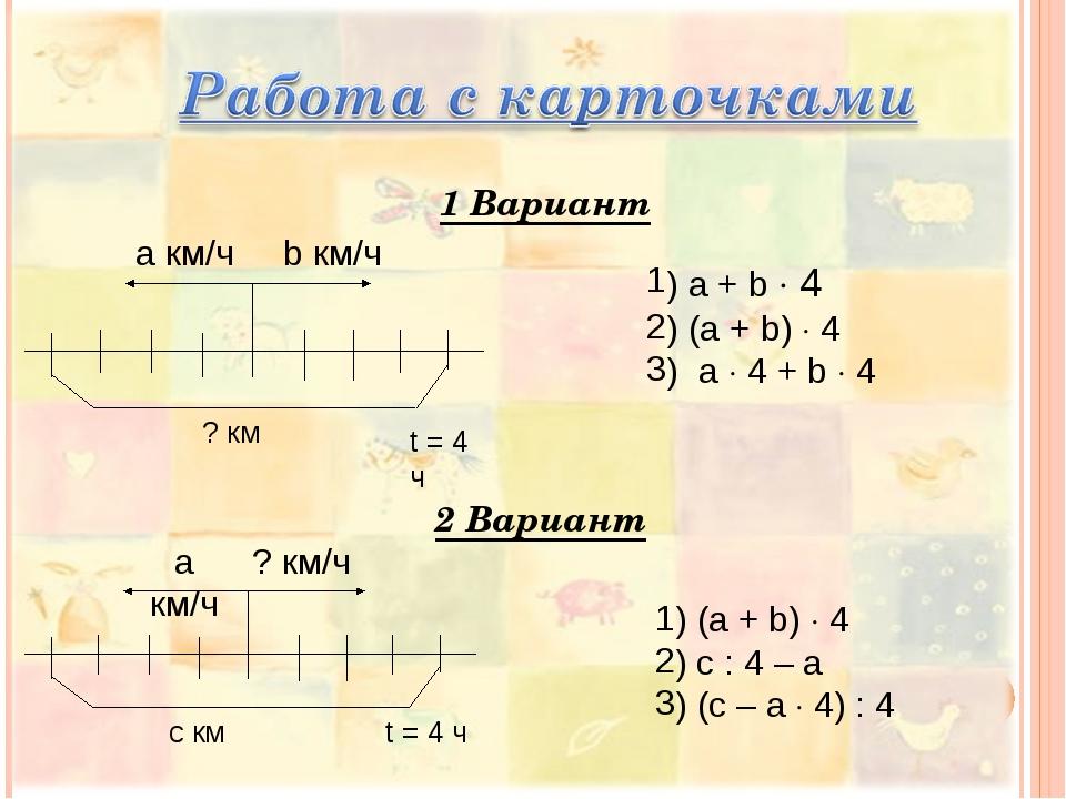 a км/ч b км/ч t = 4 ч ? км 1 Вариант 2 Вариант а км/ч ? км/ч с км t = 4 ч ) а...
