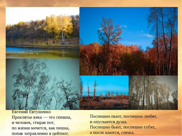 Евгений Евтушенко Проклятье века — это спешка, и человек, стирая пот, по жизн...
