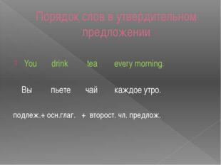 Порядок слов в утвердительном предложении You drink tea every morning. Вы пье