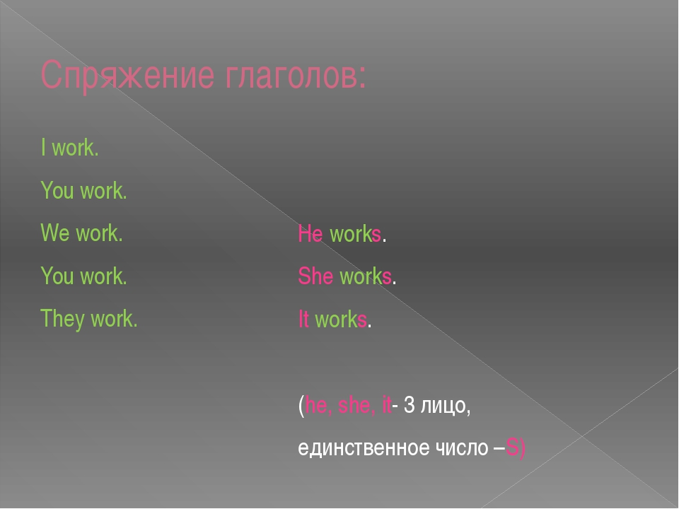 Спряжение глаголов: I work. You work. We work. You work. They work. He works....