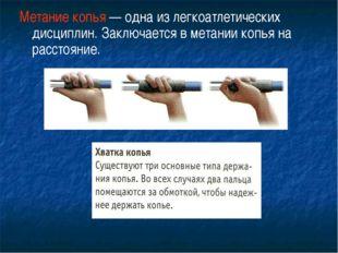 Метание копья — одна из легкоатлетических дисциплин. Заключается в метании ко
