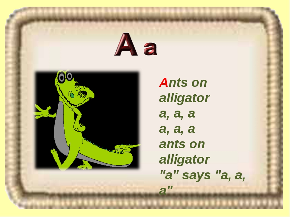 "Ants on alligator a, a, a a, a, a ants on alligator ""a"" says ""a, a, a"""