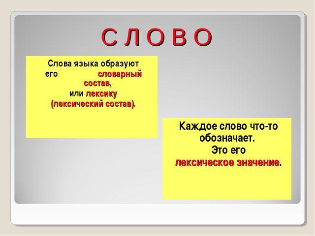 С Л О В О Слова языка образуют его словарный состав, или лексику (лексический...