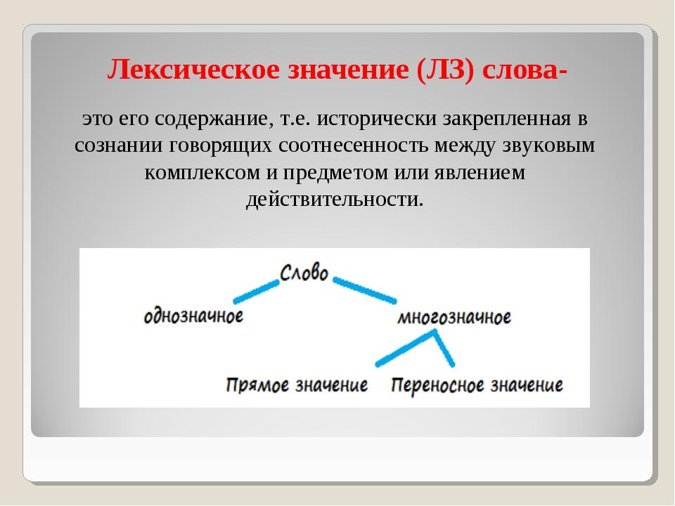 Лексическое значение (ЛЗ) слова- это его содержание, т.е. исторически закрепл...