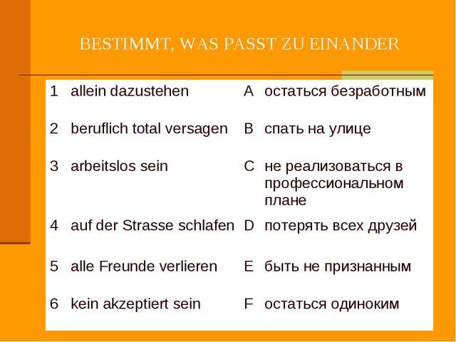 BESTIMMT, WAS PASST ZU EINANDER