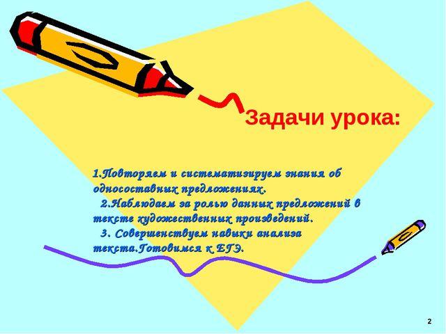 1.Повторяем и систематизируем знания об односоставных предложениях. 2.Наблюд...