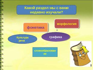 морфология словообразование Культура речи фонетика графика Какой раздел мы с