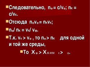 Следовательно, nф = c/vф; nк = c/vк. Отсюда nфvф = nкvк; nф/ nк = vк/ vф. Т.