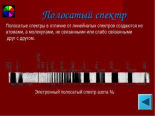 Полосатый спектр Элетронный полосатый спектр азота N2 Полосатые спектры в отл