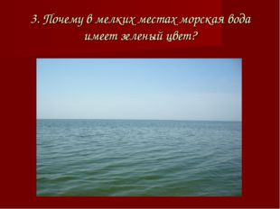 3. Почему в мелких местах морская вода имеет зеленый цвет?