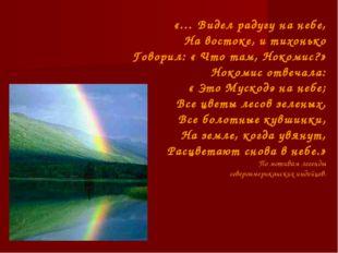 «… Видел радугу на небе, На востоке, и тихонько Говорил: « Что там, Нокомис?»