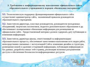 3. Требования к информационному наполнению официального сайта образовательног