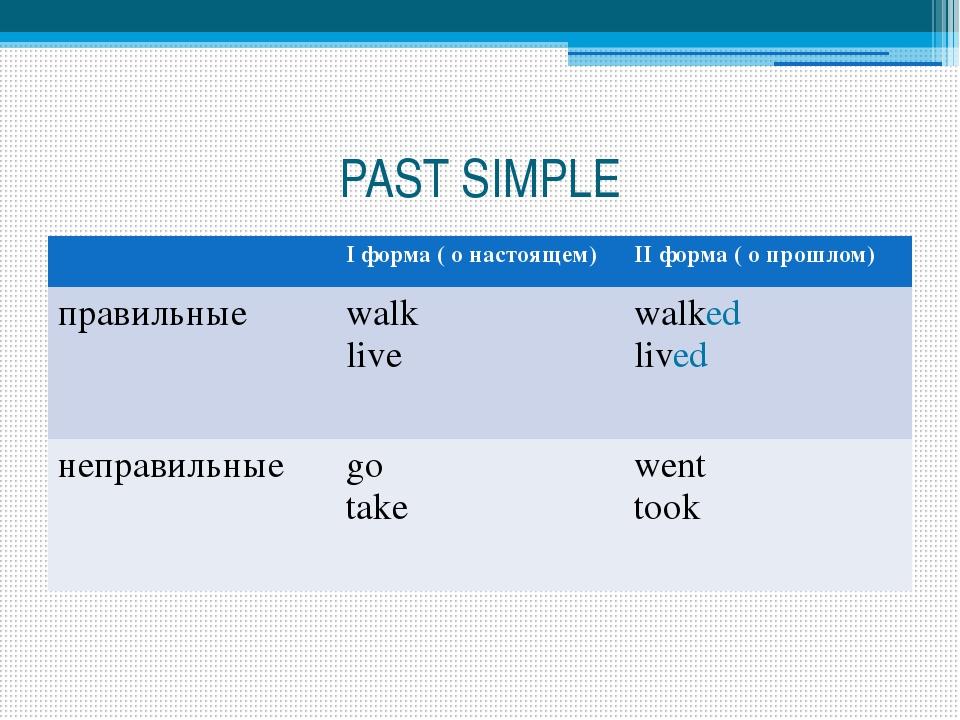 PAST SIMPLE Iформа ( о настоящем) IIформа ( о прошлом) правильные walk live w...