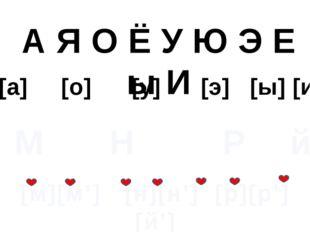 А Я О Ё У Ю Э Е ы И [а] [о] [у] [э] [ы] [и] М Н Р й [м][м'] [н][н'] [р][р'] [