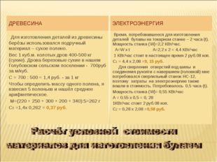 ДРЕВЕСИНА ЭЛЕКТРОЭНЕРГИЯ Для изготовления деталей из древесины берёзы использ