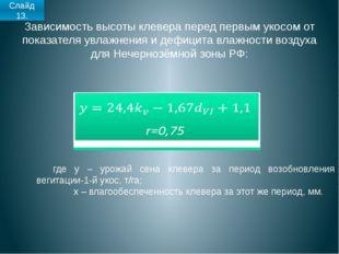 Зависимость высоты клевера перед первым укосом от показателя увлажнения и деф