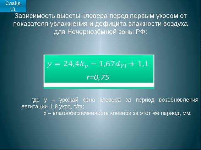 Зависимость высоты клевера перед первым укосом от показателя увлажнения и деф...