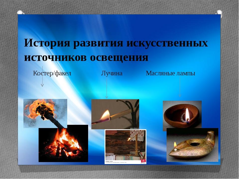 История развития искусственных источников освещения Костер/факел Лучина Масля...