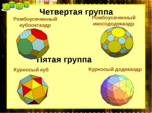Четвертая группа Ромбоусеченный кубооктаэдр Ромбоусеченный икосододекаэдр Пят