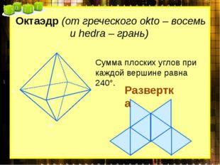 Октаэдр (от греческого okto – восемь и hedra – грань) Сумма плоских углов при