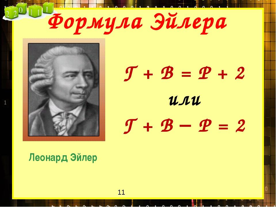 Г + В = Р + 2 или Г + В  Р = 2 Формула Эйлера Леонард Эйлер