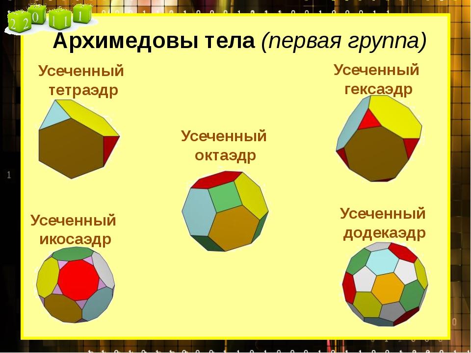 Усеченный тетраэдр Архимедовы тела (первая группа) Усеченный гексаэдр Усеченн...