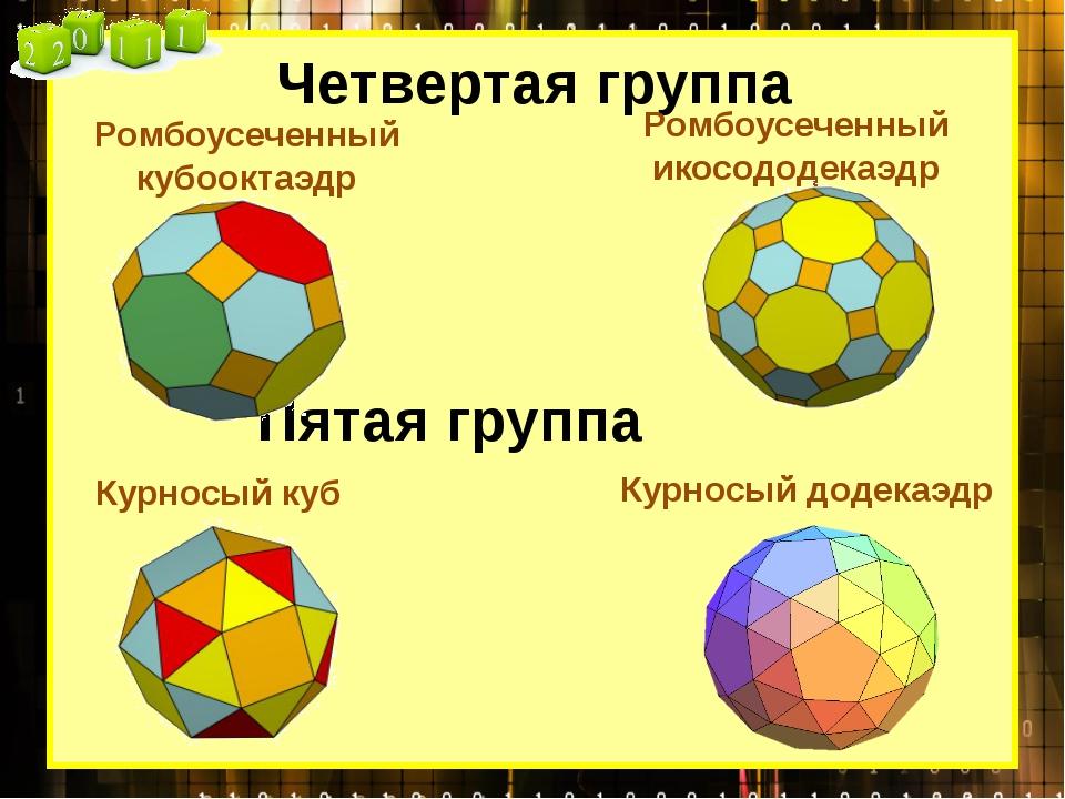 Четвертая группа Ромбоусеченный кубооктаэдр Ромбоусеченный икосододекаэдр Пят...