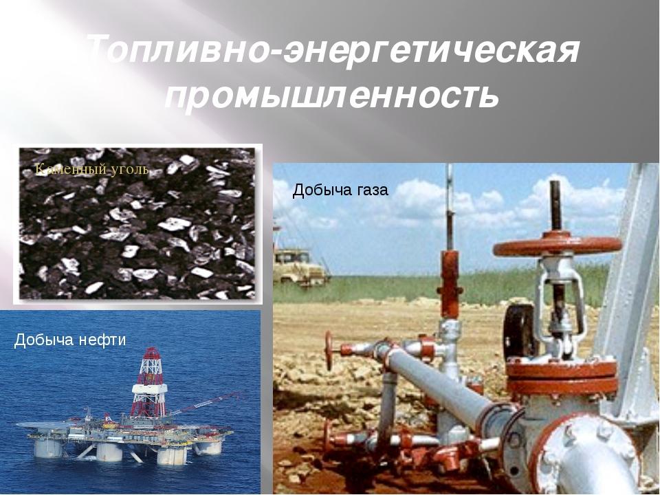 Топливно-энергетическая промышленность Добыча нефти Добыча газа Каменный уголь