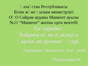 Қазақстан Республикасы Білім және Ғылым министрлігі ОҚО Сайрам ауданы Манкент