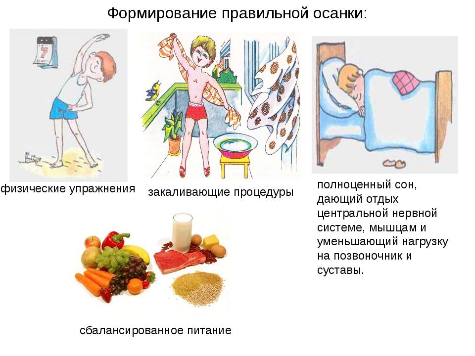 Формирование правильной осанки: физические упражнения закаливающие процедуры...