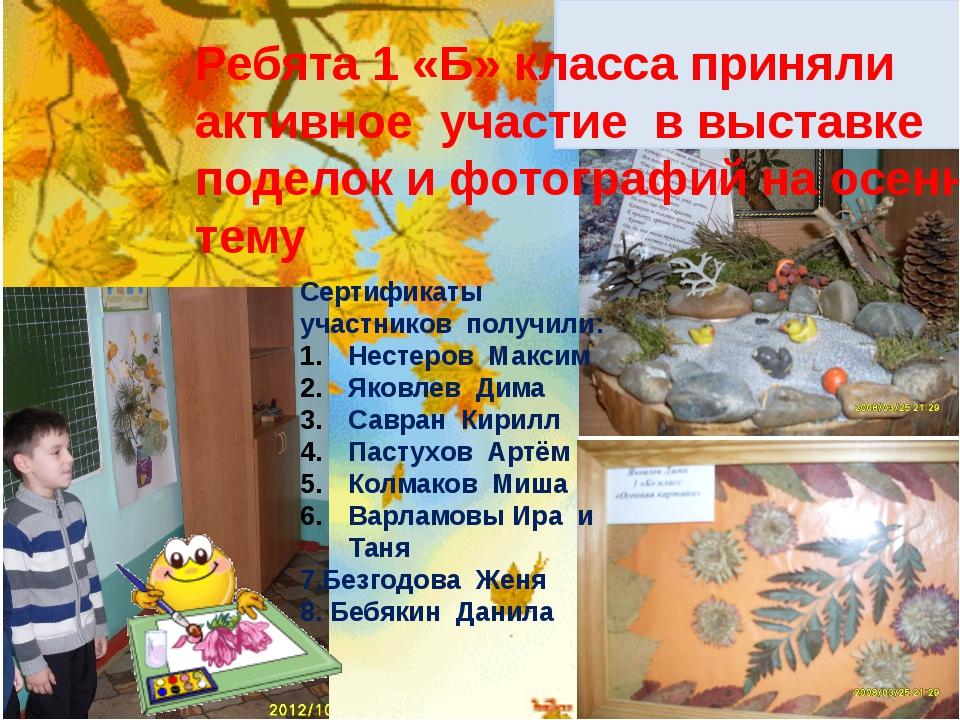 Ребята 1 «Б» класса приняли активное участие в выставке поделок и фотографий...