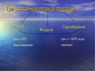 Три состояния воды в природе Твердое Жидкое Газообразное при t = 0ºC вода зам