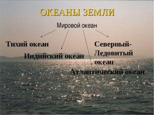 ОКЕАНЫ ЗЕМЛИ Мировой океан Тихий океан Индийский океан Атлантический океан Се