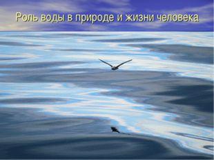 Роль воды в природе и жизни человека