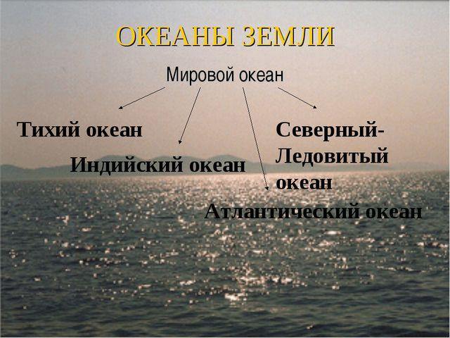 ОКЕАНЫ ЗЕМЛИ Мировой океан Тихий океан Индийский океан Атлантический океан Се...