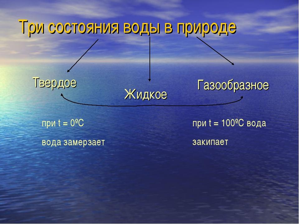 Три состояния воды в природе Твердое Жидкое Газообразное при t = 0ºC вода зам...