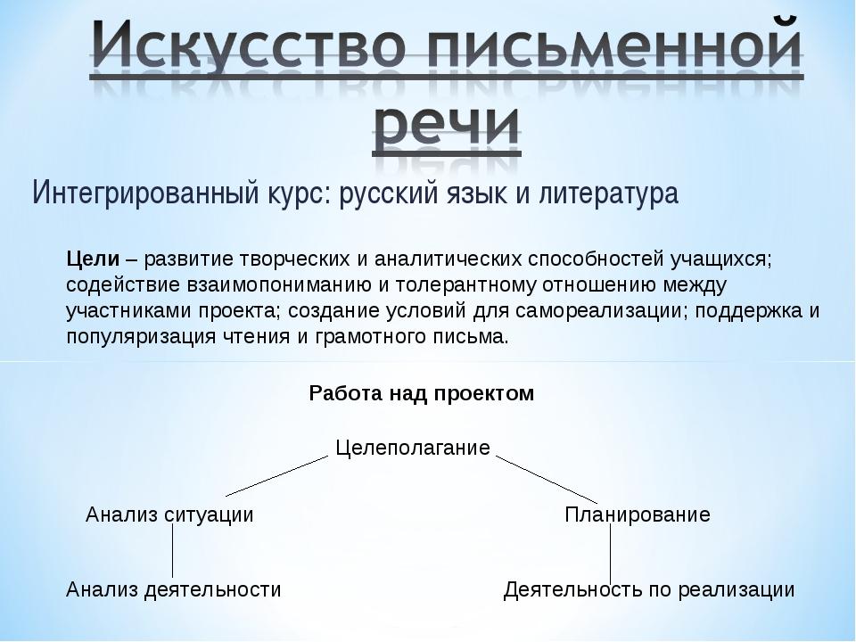 Интегрированный курс: русский язык и литература Цели – развитие творческих и...