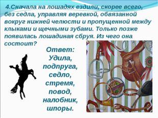 4.Сначала на лошадях ездили, скорее всего, без седла, управляя веревкой, обв