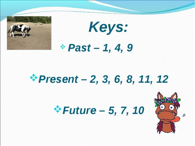 Past – 1, 4, 9	 Present – 2, 3, 6, 8, 11, 12 Future – 5, 7, 10 Keys: