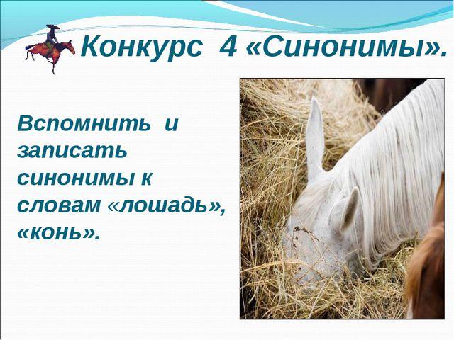 Вспомнить и записать синонимы к словам «лошадь», «конь». Конкурс 4 «Синонимы».