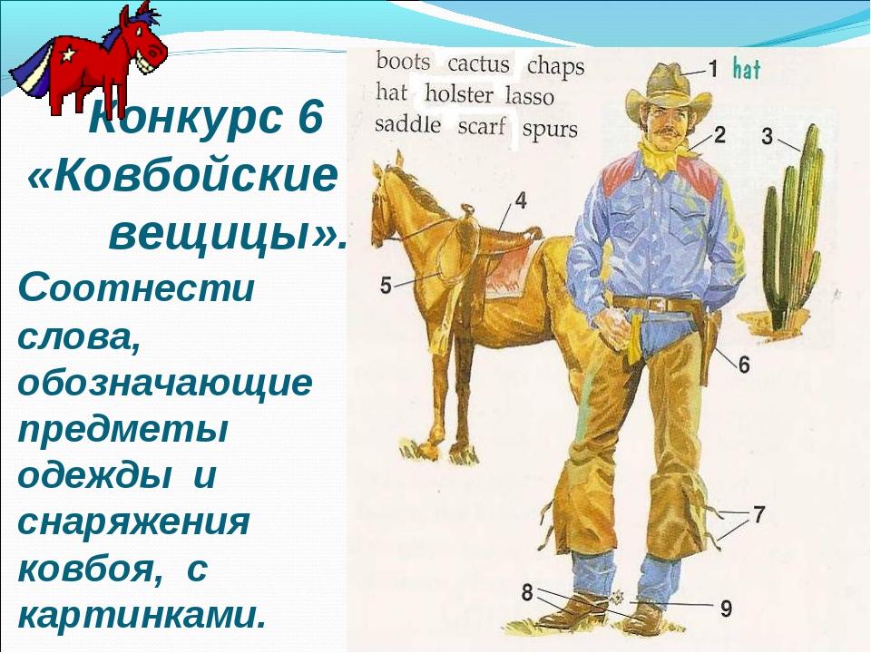 Соотнести слова, обозначающие предметы одежды и снаряжения ковбоя, с картинк...