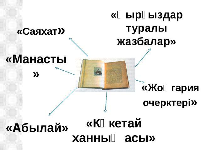 «Саяхат» «Манасты» «Қырғыздар туралы жазбалар» «Көкетай ханның асы» «Жоңгария...