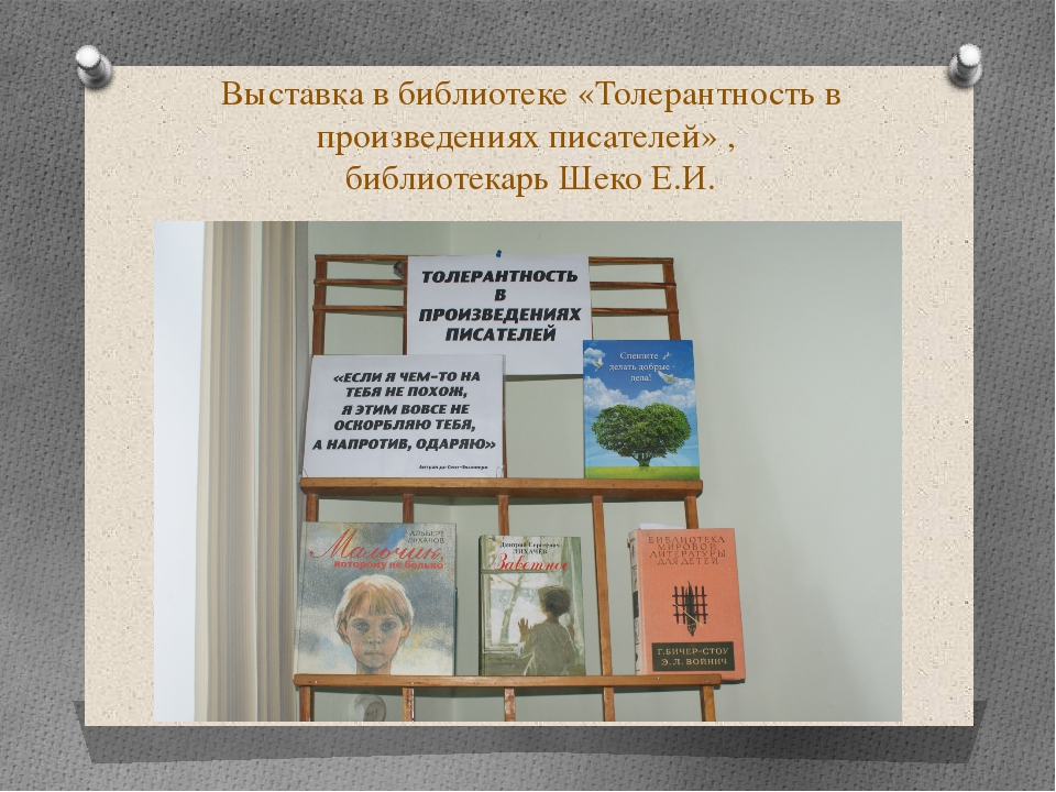 Выставка в библиотеке «Толерантность в произведениях писателей» , библиотекар...