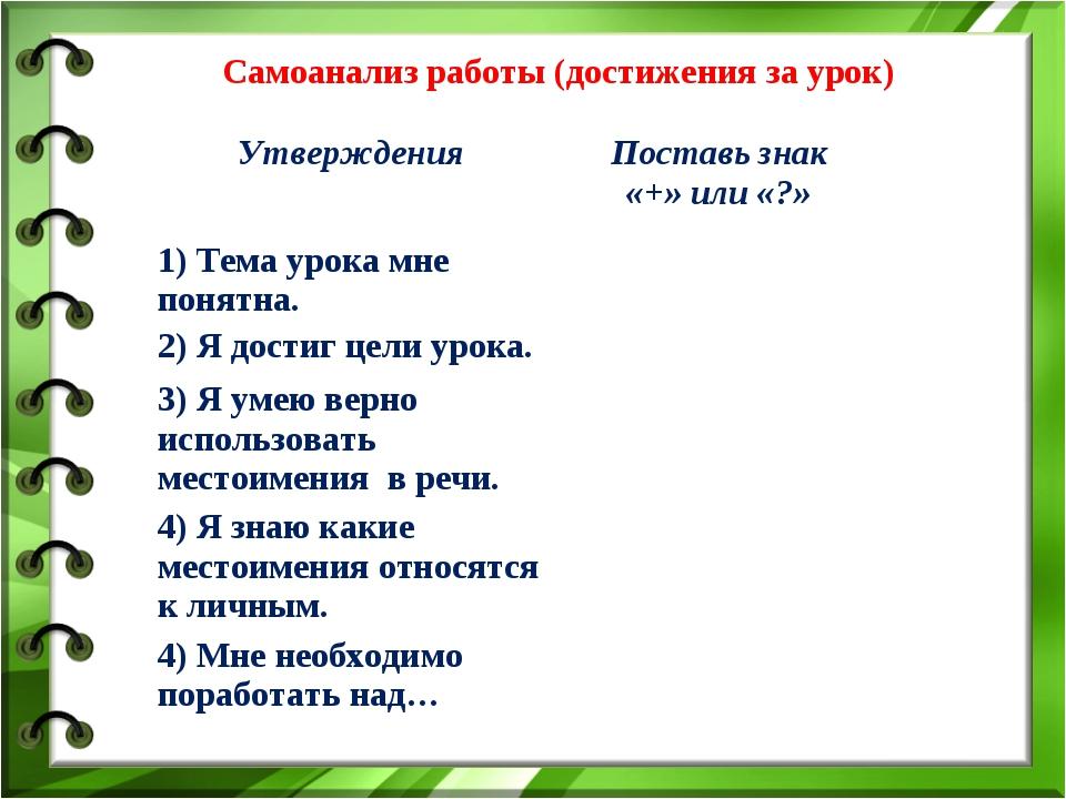 Самоанализ работы (достижения за урок) УтвержденияПоставь знак «+» или «?»...
