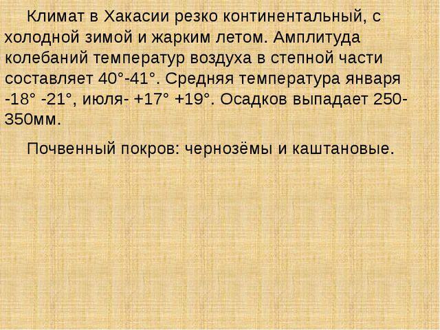 Климат в Хакасии резко континентальный, с холодной зимой и жарким летом. Амп...